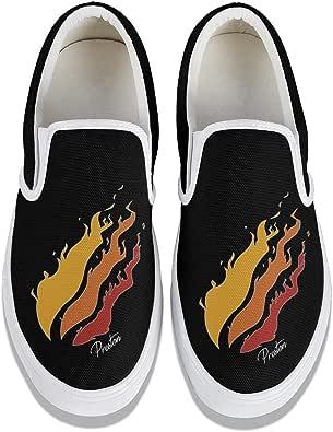 YJRTISF Canvas Slip-On Loafers Preston-Fire-Logo Traveling ...