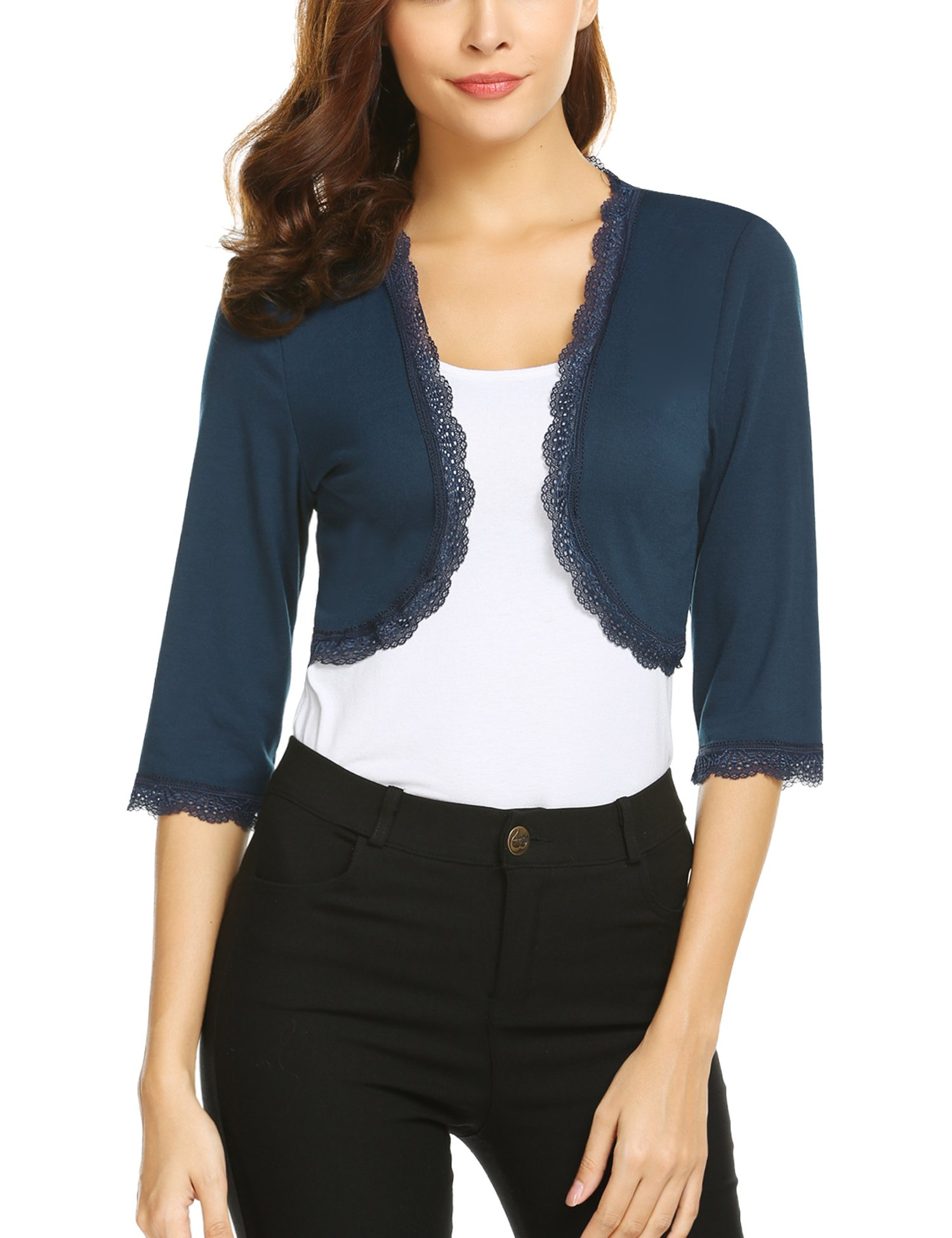 Pinspark Women's 3/4 Sleeve Shrug Open Front Lace Trim Crop Cardigan Bolero Jacket (Blue, XXL)
