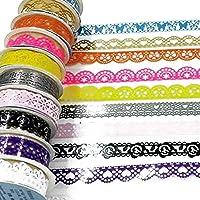 7pcs Cintas Adhesivas Glitter Encaje, diseño Ondulado Tuercas Bandas Varios de Encaje para el Bricolaje Manualidades…