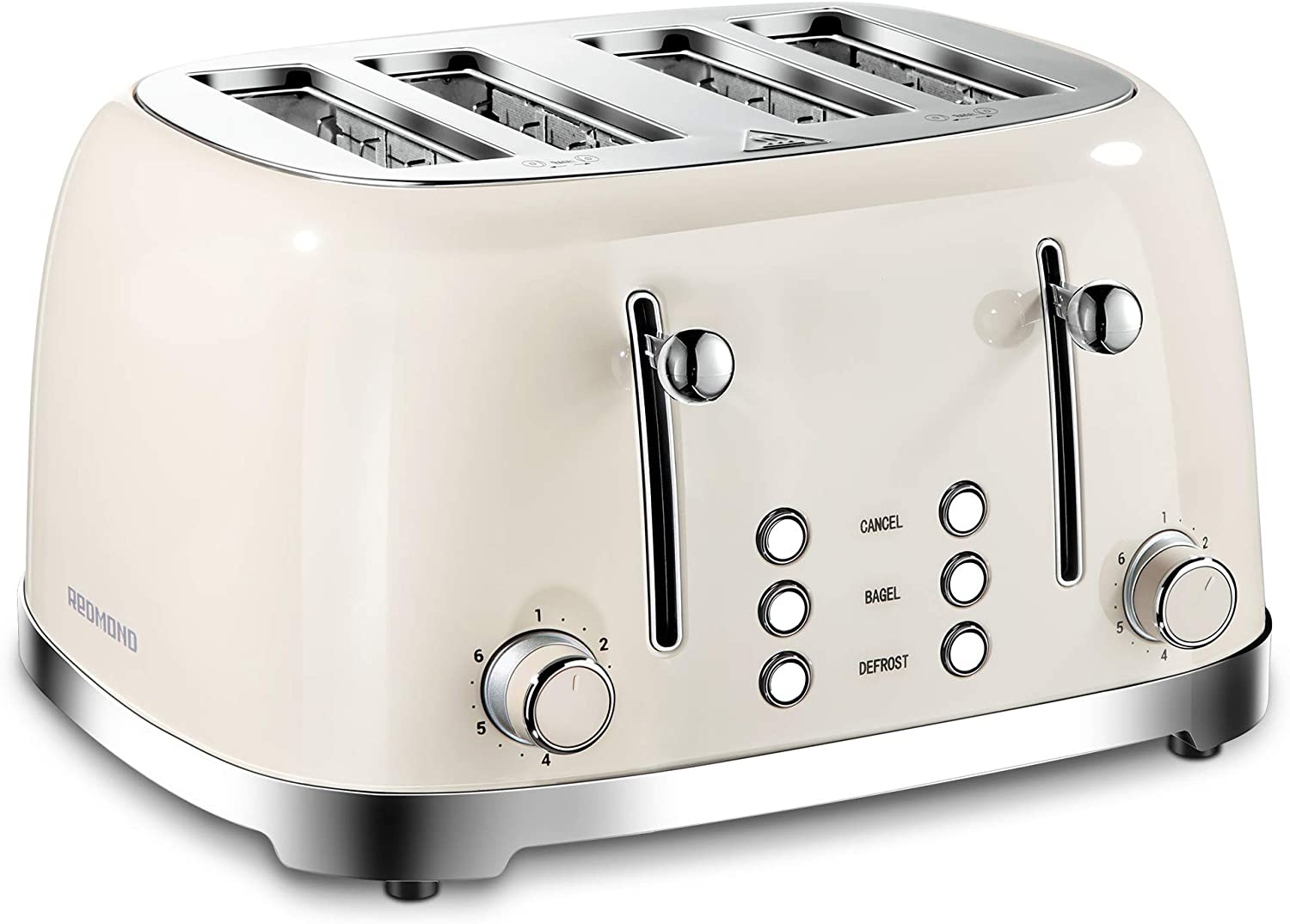REDMOND 4 Slice Toaster Retro Stainless Steel Toasters with Bagel Defrost Cancel Function, 6 Browning Settings, Cream, ST033
