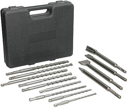 ECD Germany 13-piezas Juego de Brocas y Cinceles SDS Plus con caja de taladro de