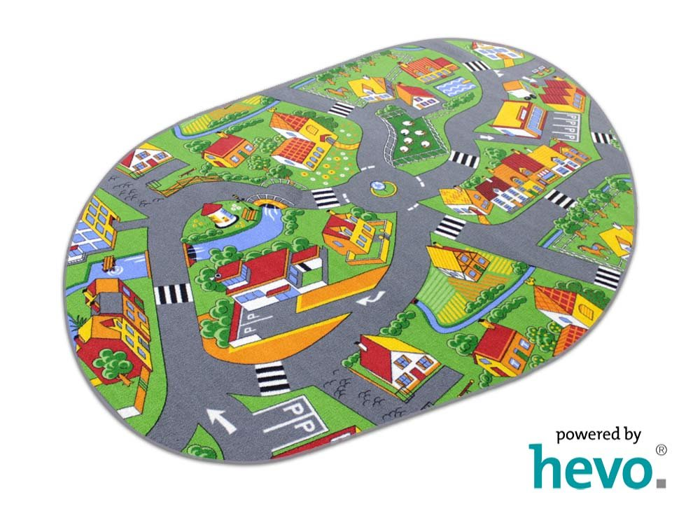 Stadt Land Fluss HEVO® Teppich   Kinderteppich   Spielteppich 200x280 cm Oval