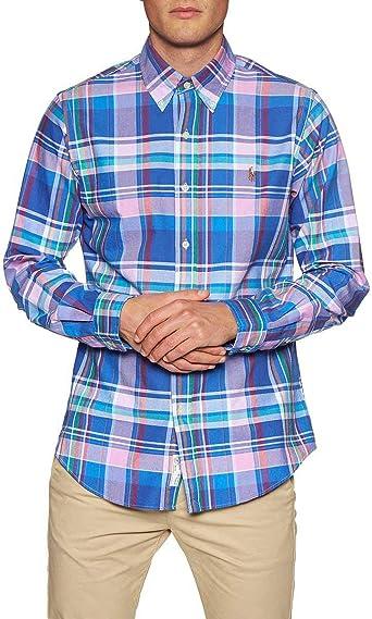 Camisa Ralph Lauren Slim Fit Cuadros Multicolor Hombre M: Amazon.es: Ropa y accesorios