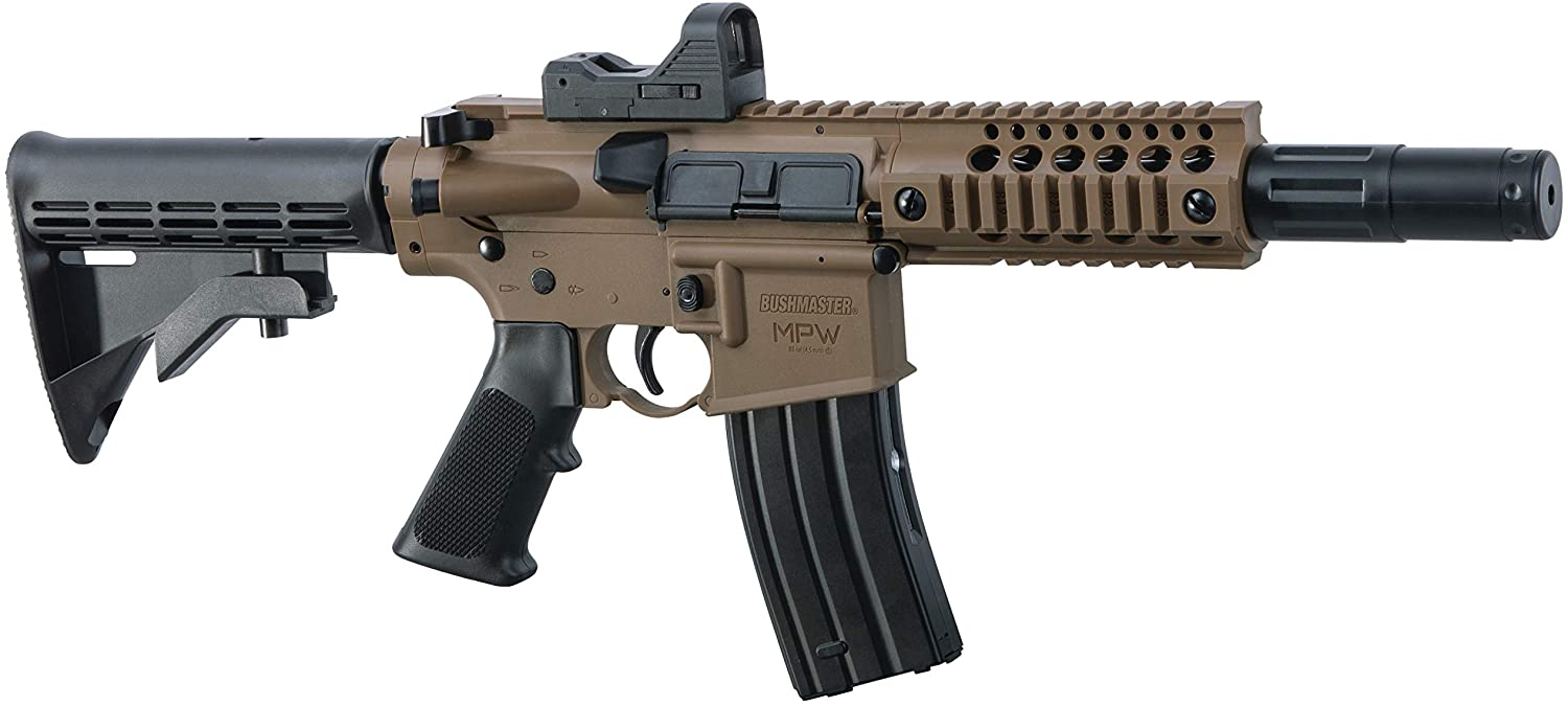 Bushmaster BMPWX Full Auto MPW CO2-Powered BB Air Rifle With Dual Action Capability And Red Dot Sight