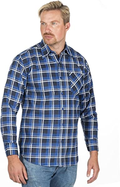 Style It Up - Camisa de franela cepillada a cuadros para hombre de manga larga estilo casual: Amazon.es: Ropa y accesorios