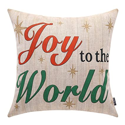 Amazoncom Trendin Vintage Joy To The World Throw Pillow Cover Home
