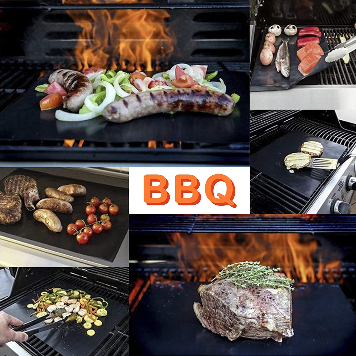 InjoyBoho 5 x Teflon Non Stick Oven Liner Heavy Duty BBQ Grill Mat For Fan Assisted Ovens 19.6 x 15.7-Inch