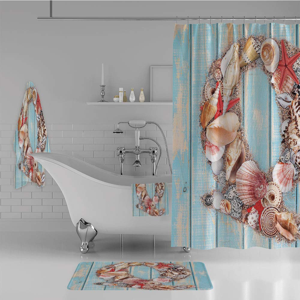 iPrint Bathroom 4 Piece Set Shower Curtain Floor mat Bath Towel 3D Print,Animals Ocean Inspired Tropical Colors Decorative,Fashion Personality Customization adds Color to Your Bathroom.