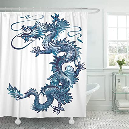 Ashleyallen Shower Curtains China Moving Up Blue Oriental Dragon On White River Curtain 60 X
