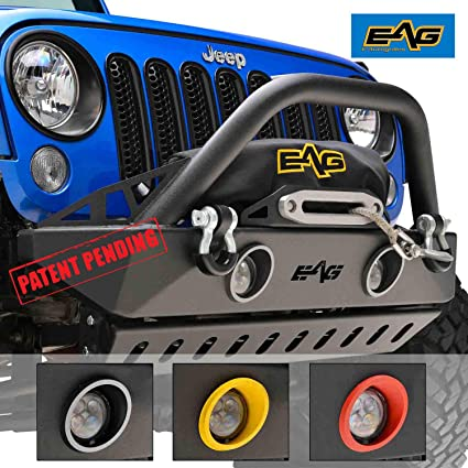 Eag 07 18 Jeep Wrangler Jk Front Bumper Stubby With Led Lights Colored Light Frames And Skid Plate