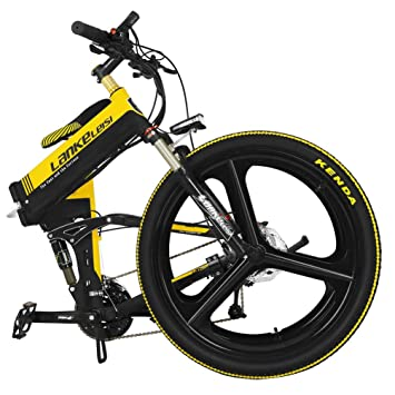 lankeleisi xt750 con configuración avanzada 26 pulgadas bicicleta eléctrica plegable integrado rueda 48 V Suspensión completa