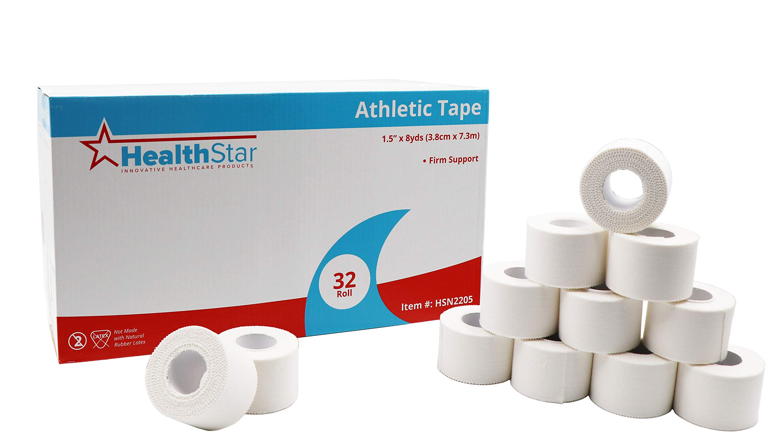 HealthStar White Athletic Tape, 1.5 in X 8 YD for Muscle Support, Joint Protection & Compression Therapy, Latex Free (32 Rolls)