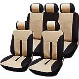 Woltu AS7288 - Conjunto de funda universal para asiento de coche (piel sintética), color beige y negro