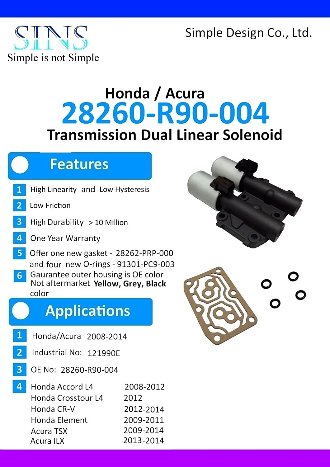 SINS Accord Crosstour CR-V Element TSX ILX Transmission AT Clutch Pressure Control Solenoid Valve B and C 28260-R90-004-Casting