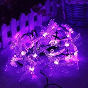 Solar Dragonfly String Light 30LED 21ft Garden Stake Lights Waterproof Outdoor Twinkle Fairy Lights with 8 Lighting Modes for Trees, Patio, Fence Christmas Decor (Solar Powered, Purple)