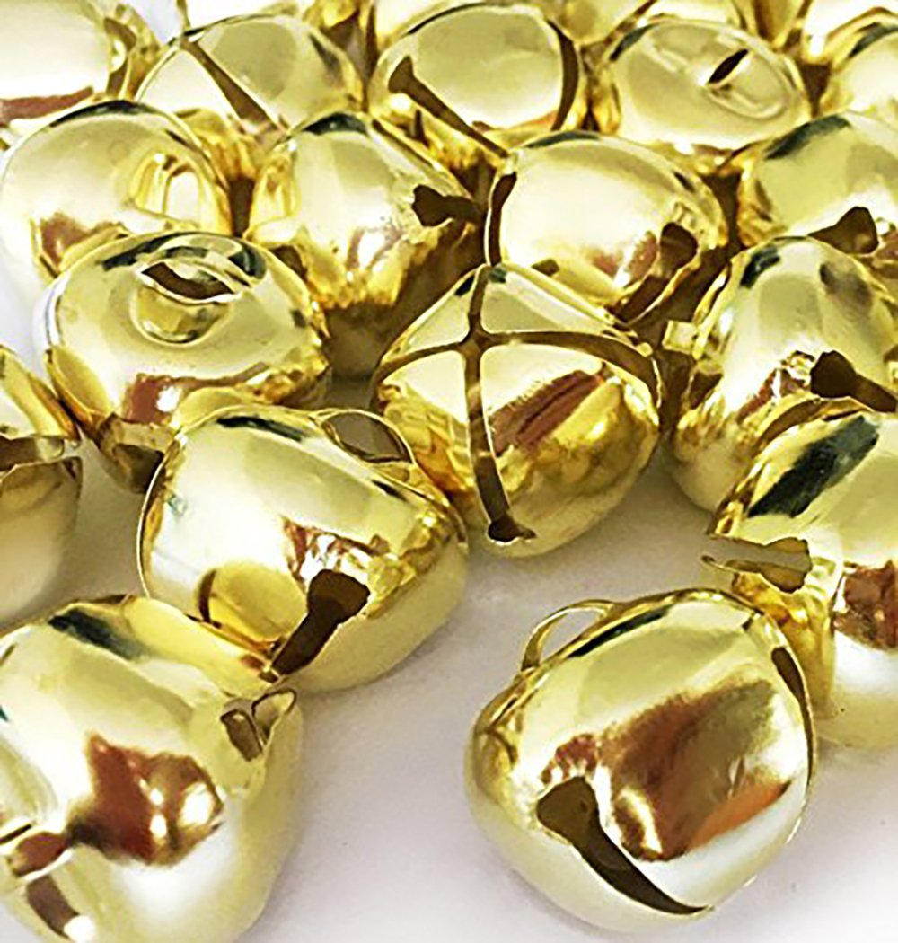 Christmas Ringing Gold Jingle Bells, 1-Inch - (500-Pack) - Beads Charms Xmas Jewellery Craft