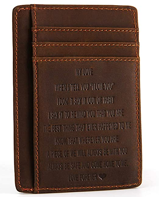 0916c30696057 Image Unavailable. Image not available for. Color  Men s Engraved Leather Front  Pocket Wallet ...
