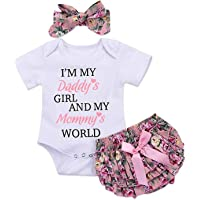 3pcs Newborn Baby Girls Outfits Daddy's Girl White Short Sleeve Romper Floral Bow reffles Shorts Bowknot Headband…