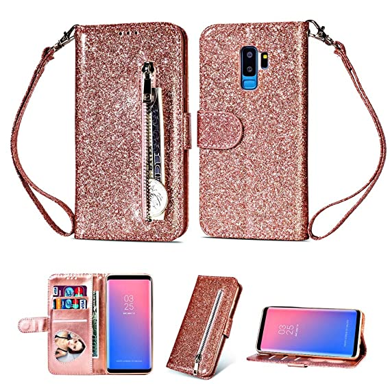 the latest 96047 315e6 Amazon.com: Luxury Leather for Samsung Galaxy S9 Plus Wallet Case ...