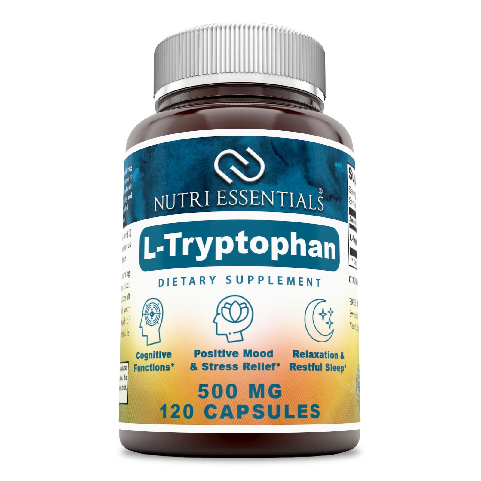 Nutri Essentials L-Tryptophan Dietary Supplement - Natural Sleep Aid Supplements with 500 mg of Free Form L Tryptophan - For Stress Relief, Circulation & Immune Support 120 Capsules