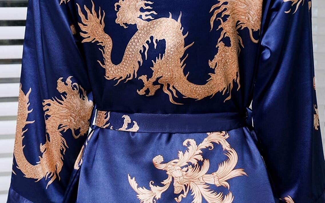 BU2H Men Sleepwear Kimono Silk Robe Dragon Spa Nightgown Bathrobe