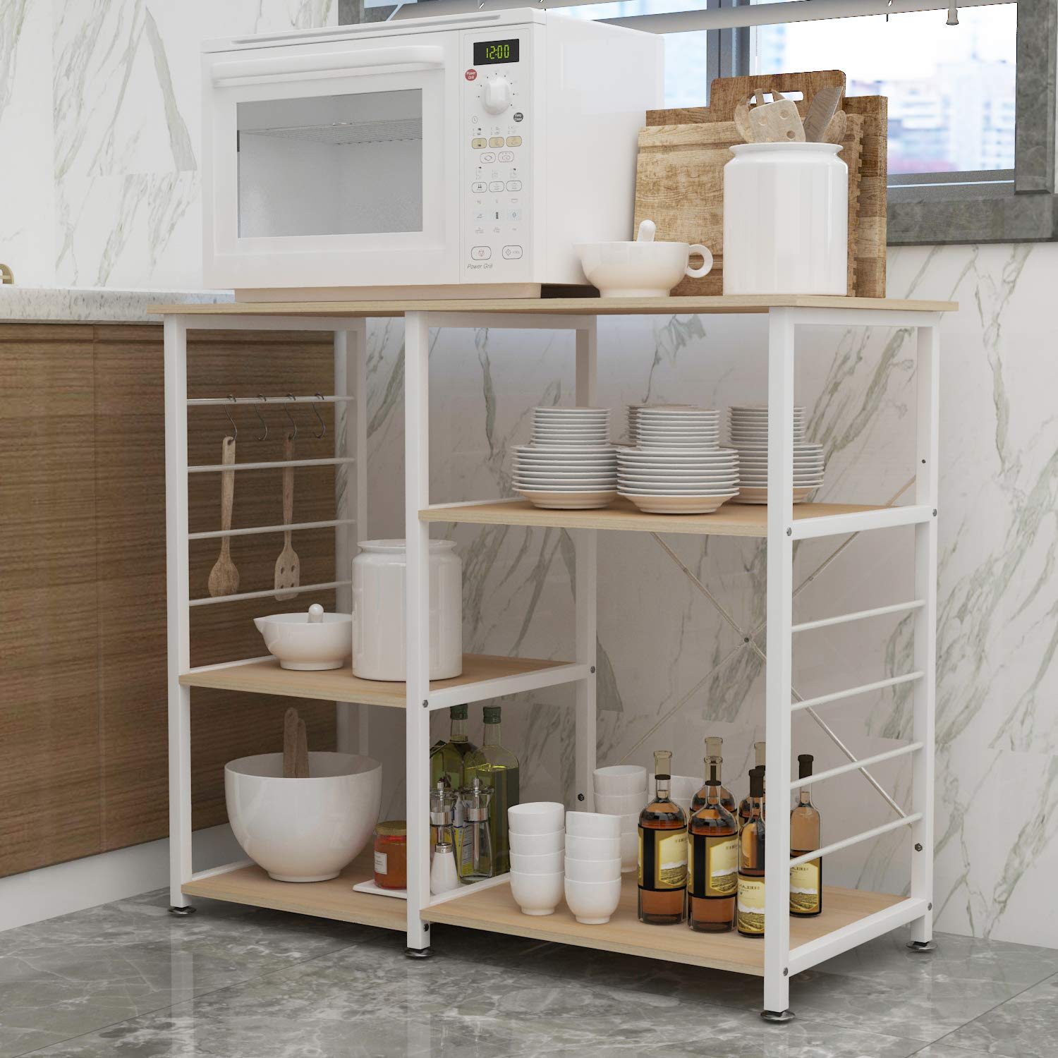 SogesHome 4-Tier Kitchen Baker's Rack Utility Microwave Oven Stand Storage Cart Workstation Shelf,White Oak NSDUS-171-MO-ZF by SogesHome