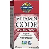 Garden of Life Vitamin Code Iron Supplement, Healthy Blood - 60 Vegan Capsules, 28g Iron, Vitamins B, C, Trace Minerals, Frui