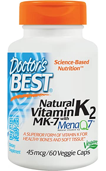 Doctors Best Natural Vitamin K2 MK-7 with MenaQ7, Non-GMO, Vegan
