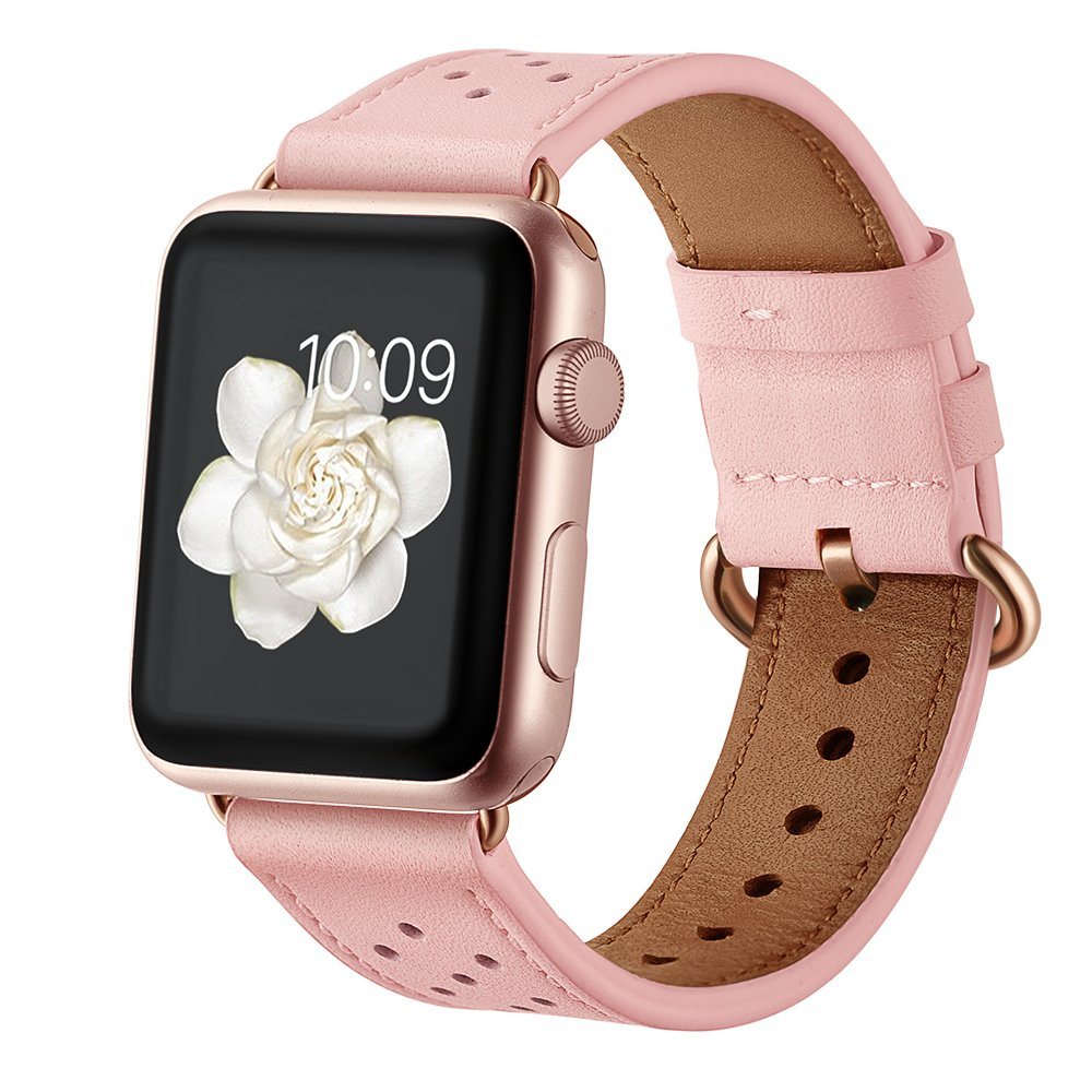 Leather Band for Apple Watch 38mm 40mm,iwatch Series 4 3 2 1 Pink Replacement Strap with Rose Gold Stainless Steel Buckle Clasp