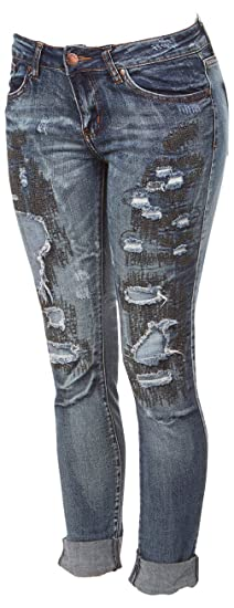 801c87771df04 Ripped Distressed Patched Skinny Stretch Jeans for Women Bottom Cuff Low  Waisted Junior Sizes