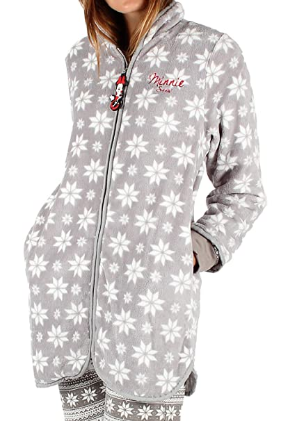 Disney Bata Manga Larga Calentita, Minnie Snow para Mujer, Color Gris, Talla XL: Amazon.es: Ropa y accesorios