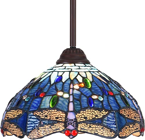 Capulina Tiffany Style Kitchen Lighting, 1-Light Stained Glass Lighting Fixtures, 11.8 inch Wide Lampshade Kitchen Island Lighting, Beautiful Dragonfly Style Tiffany Hanging Pendant Light