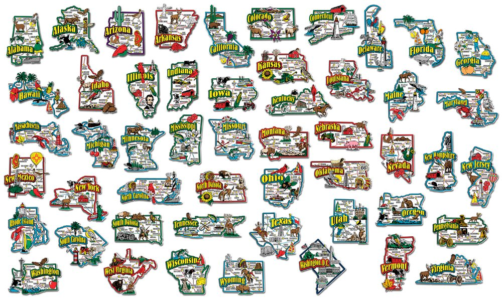 Complete State Jumbo Map Magnet Collection