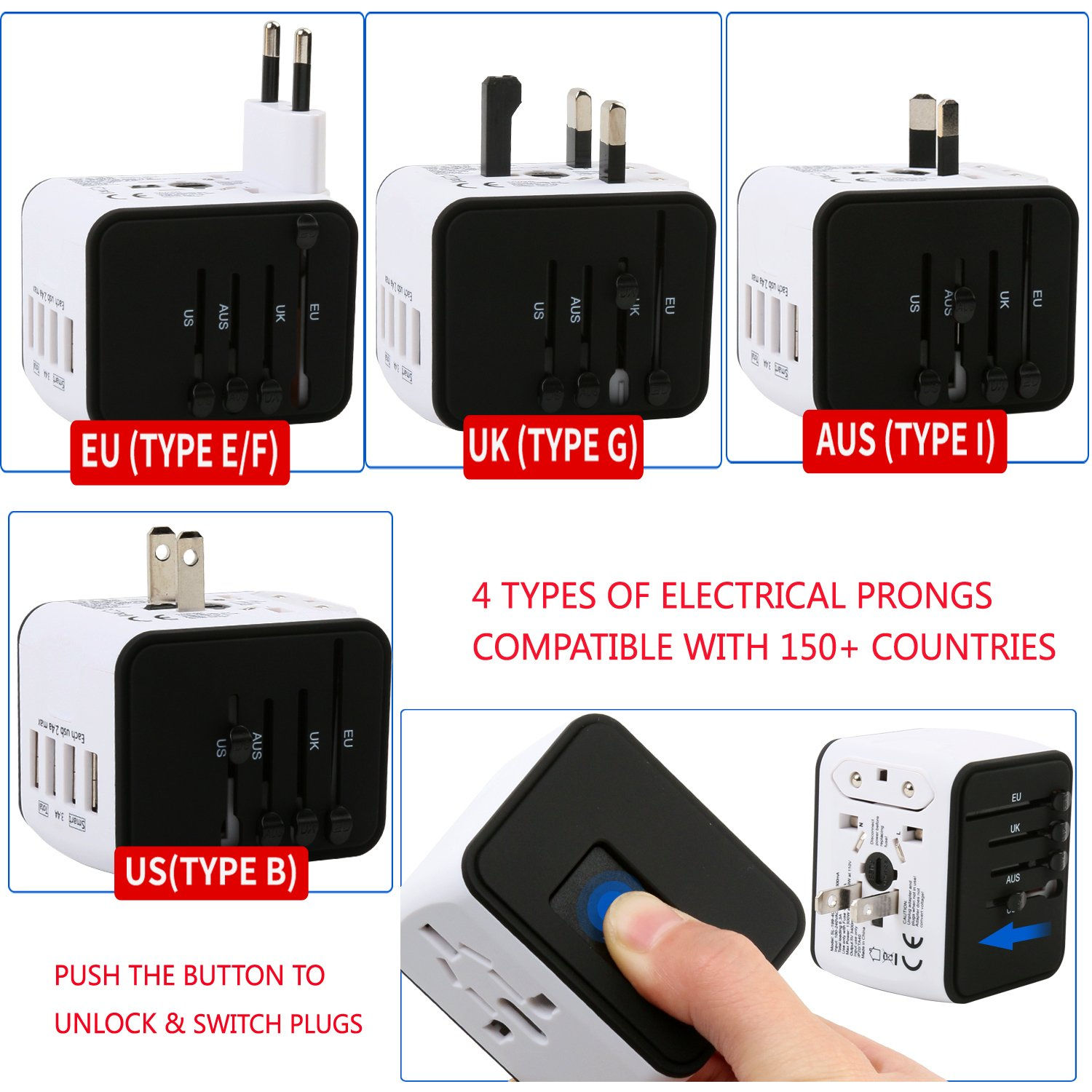 Universal Travel Adapter - 4 USB 3400mA MAX Wolrd Travel Adapter for iPhone iPad Laptop Android Phone Shaver Cameras etc - Plug Adapter Charger for US UK EU AU etc - Covers over 150 Countries (White)