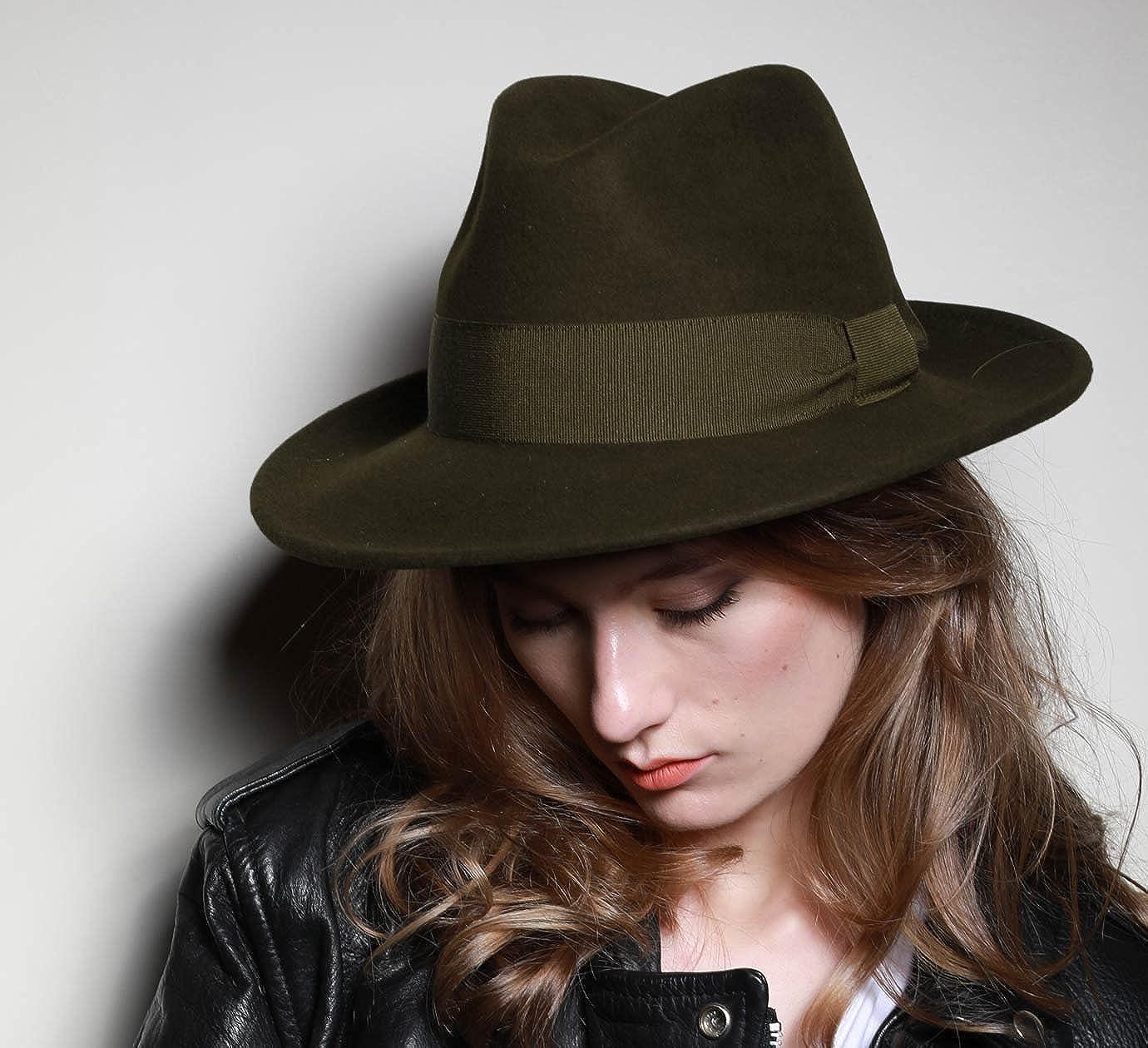 10 Coloris Classic Italy Chapeau Fedora Pliable imperm/éable Feutre Homme ou Femme Fedora