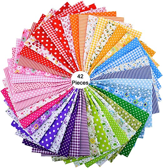 42piezas de 25cm x 25cm de tela de algodón con estampado floral, para costura, manualidades, álbumes de recortes: Amazon.es: Hogar