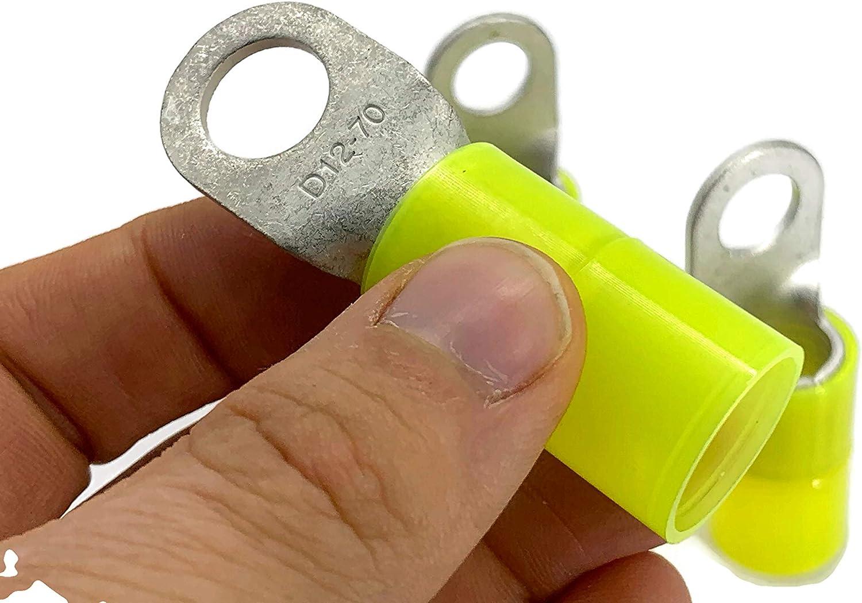 Terminal de cable 50mm2 a 70mm2 M12 aislado 4x ojetes de anillo de presi/ón ojetes de engaste termina