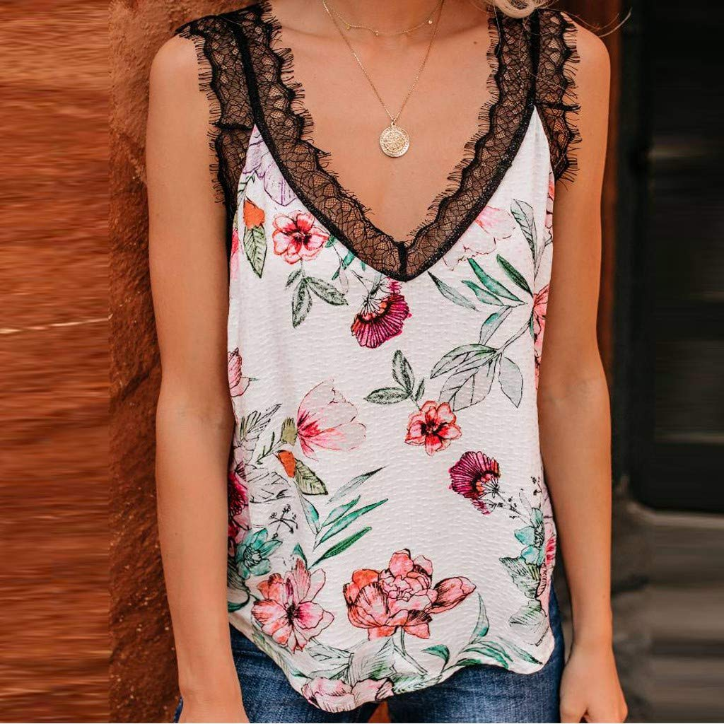 Lace Tank Tops for Women Summer Sleeveless Floral Print Vest V-Neck Cute Camisole Loose Casual Shirt