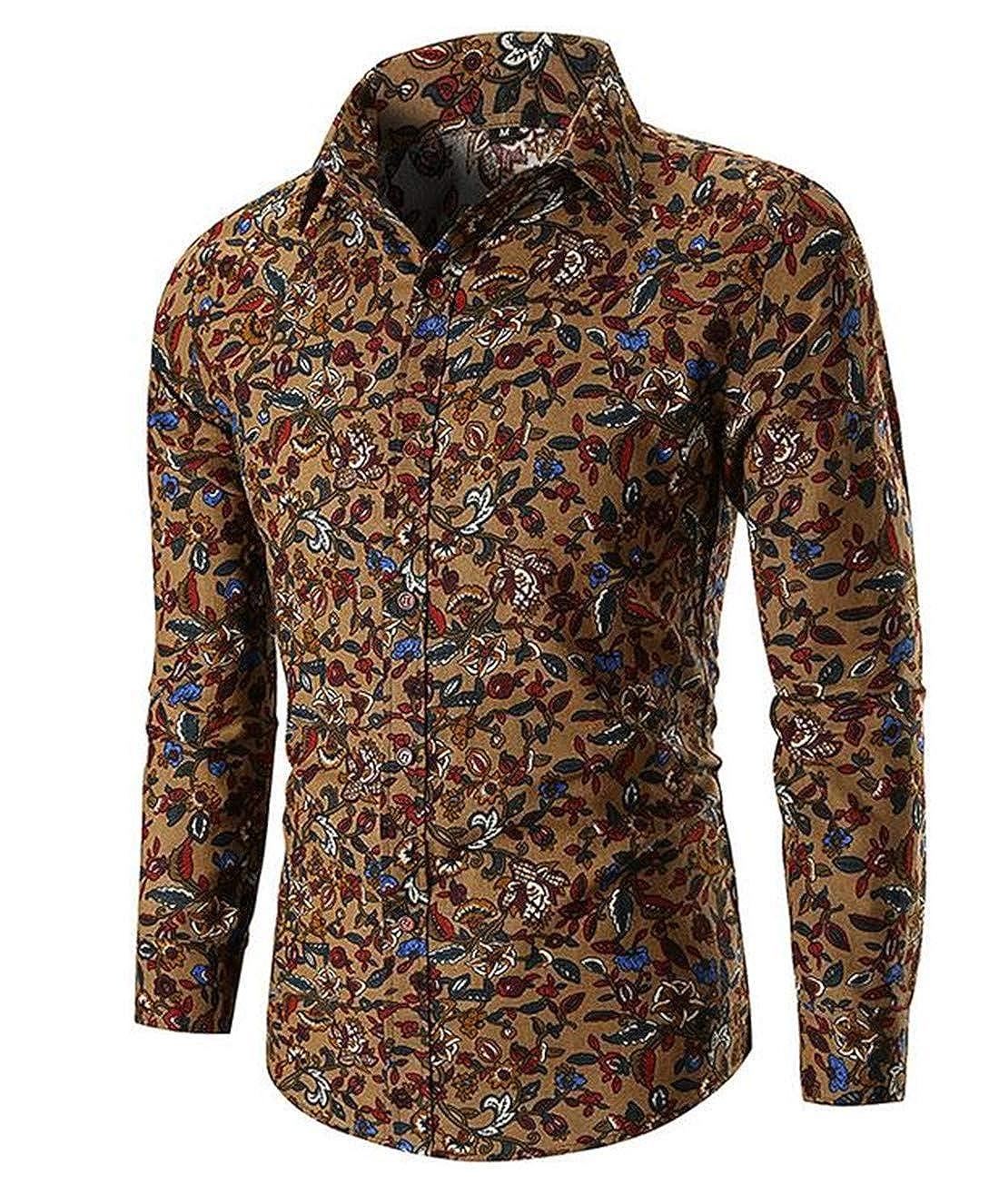 Nanquan Men Slim Fit Lapel Button Down Long Sleeve Floral Print Dress Shirts