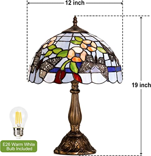 GZBtech Tiffany Table Lamp Butterfly Floral Style, Antique Blue Stained Glass Desk Lamp, 19 H UL Listed Sturdy Aluminum Desk Lamp with 1 Bulb Included, Decoration for Room Bedside Nightstand