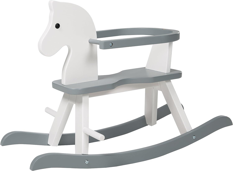 Caballo de balancín roba, juguete balancin acabado en blanco y gris, caballo balancin para niños pequeños con anillo protector desmontable. Utilizable a partir de 1 año.