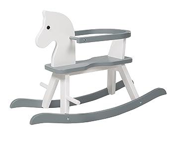 724e3f423 Caballo de balancín roba, juguete balancin acabado en blanco y gris, caballo  balancin para