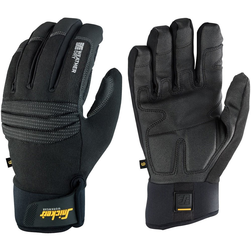 Snickers 95790404009''Dry'' Weather Gloves, 9, Black