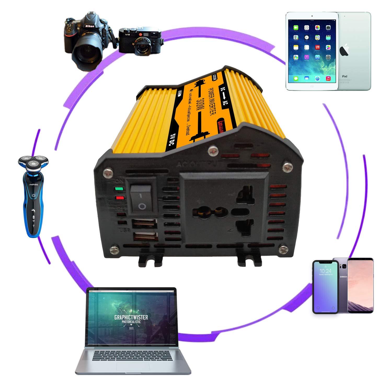 Liefallow Wechselrichter 300W DC 12V auf AC 230V 240V Auto Konverter mit Dual USB Ladeger/ät Zigarettenanz/ünder Adapter Buchse f/ür Auto Laptop Ladeger/ät Netzteil Camping