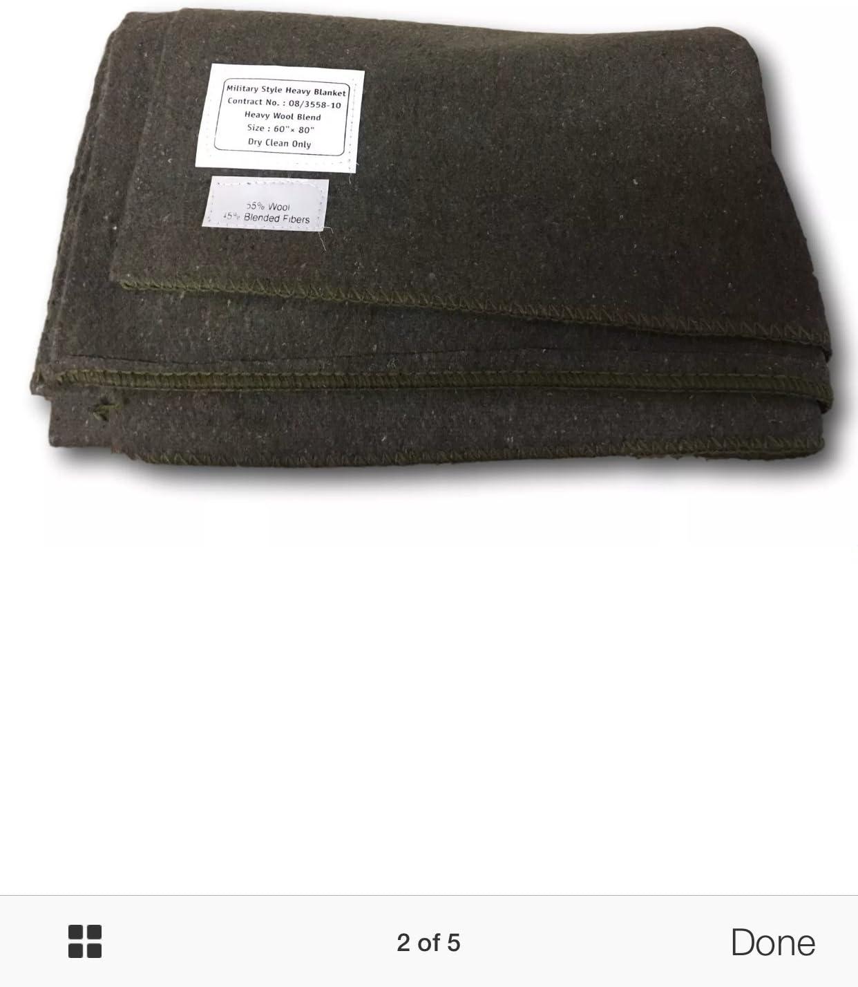 Cissbury - Lana militar, manta, sellada, elección de color, lana, verde, 60/40