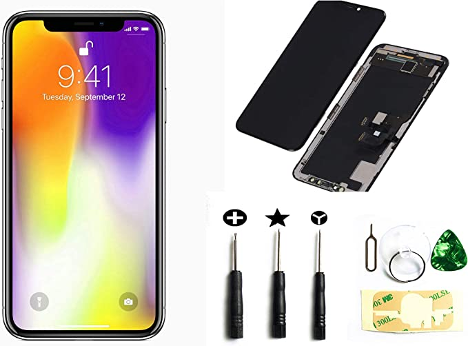 passionTR Screen Replacement fits iPhone X 5.8 inch Flexible OLED LCD Screen Display digitizer Assembly Full Complete Front Glass 3D Touch Screen Black