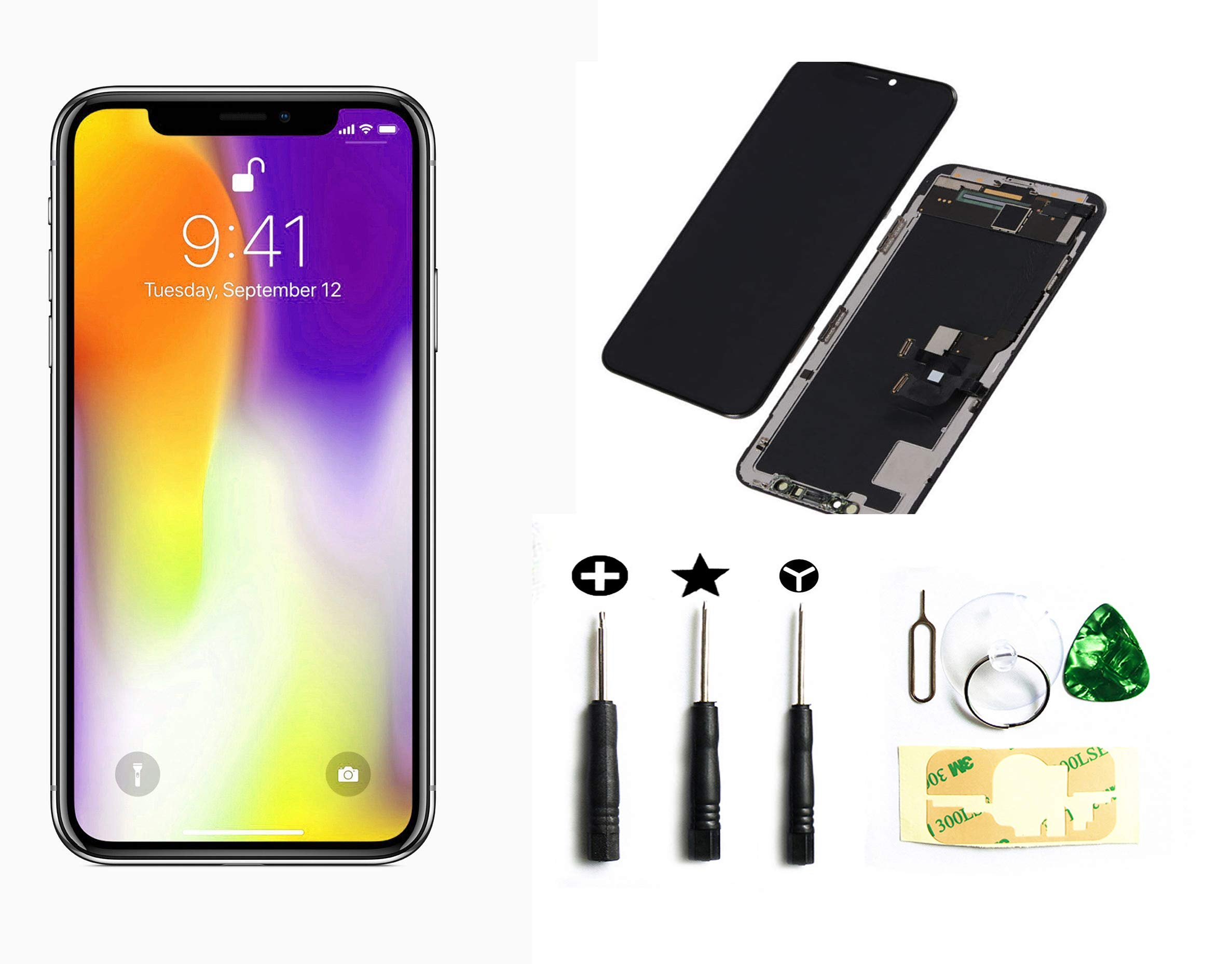 Black Iphone X (10) Ten 5.8 Inch OLED Screen Replacement Full Digitizer Assembly Frame Set Front Glass 3D Touch Display With Required Tool Kit
