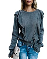 Imily Bela Women's Crew Rib Ruffle Front Puff Long Sleeve Blouse Sweater Crop T Shirts