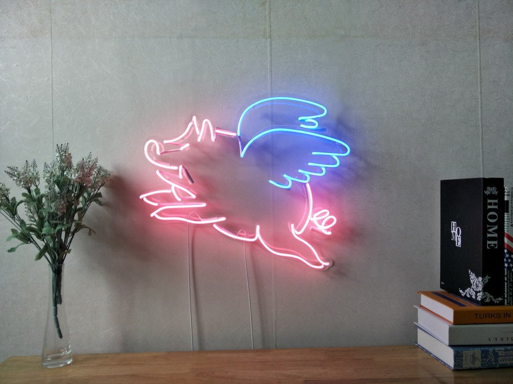 Pigs Can Fly Wings Real Glass Neon Sign For Bedroom Garage Bar Man Cave Room Home Decor Handmade Artwork Visual Art Dimmable Wall Lighting Includes Dimmer