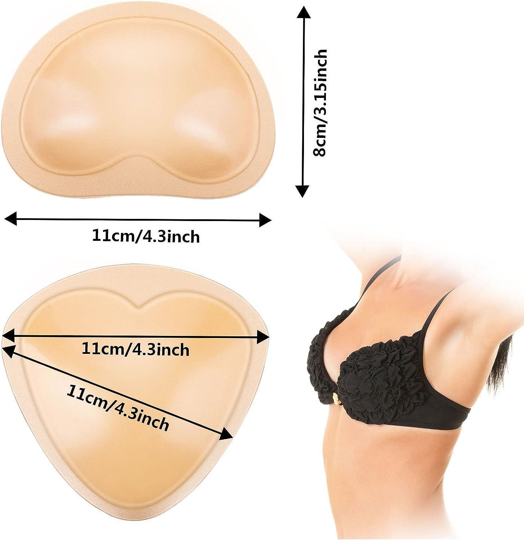 Frienda 4 Paia Imbottiture Autoadesive Reggiseno Inserti Estraibile Push Up Seno Rinforzatore per Bikini 2 Forme